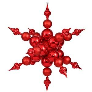 Red 39-Inch Shiny Glitter Radical Snowflake Ornament