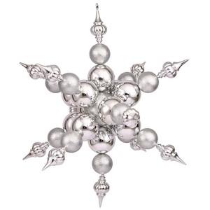 Silver 39-Inch Shiny Glitter Radical Snowflake Ornament