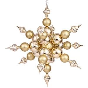Gold 39-Inch Shiny Glitter Radical Snowflake Ornament