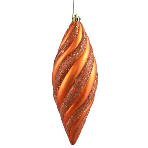 Burnish Orange Spiral Drop Ornament 200mm