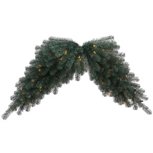 Blue Crystal 48-Inch Pine Swag Garland with 70 Clear Lights