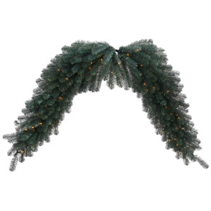 Blue Crystal 6 Foot Pine Swag Garland with 100 Clear Lights