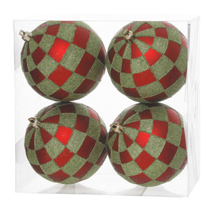Red and Lime 5-Inch Check Glitter Ball Ornament, Set of Four
