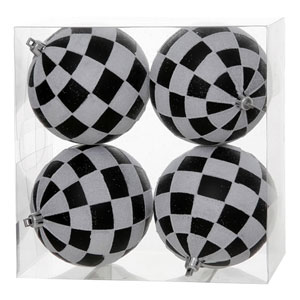 Black and White 5-Inch Check Glitter Ball Ornament, Set of Four