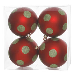 Red and Lime 5-Inch Polka Dot Glitter Ball Ornament, Set of Four