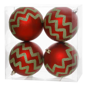 Red and Lime 5-Inch Chevron Glitter Ball Ornament, Set of Four