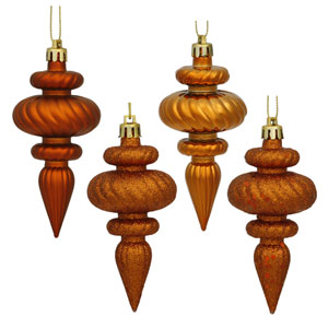 Burnish Orange 4 Finish Finial Ornament 100mm