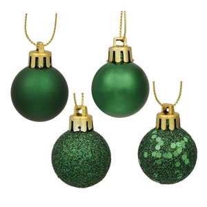 Emerald Green 4 Finish Ball Ornament 1-inch 18/Box