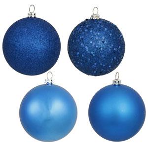 Blue 4 Finish Ball Ornament 60mm 4/Box