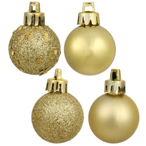 Gold 4 Finish Ball Ornament 60mm 4/Box