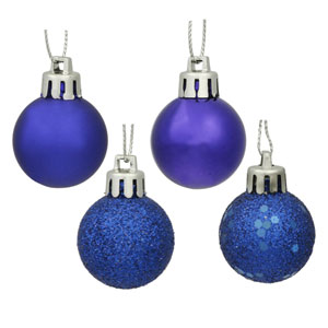 Cobalt Blue 4 Finish Ball Ornament 60mm 4/Box