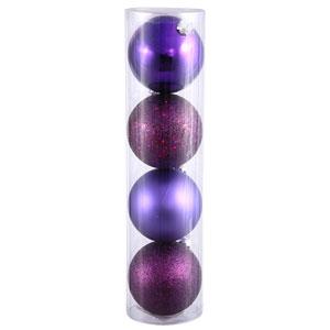 Plum 4 Finish Ball Ornament 60mm 4/Box