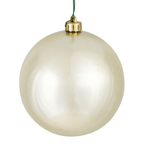 Champagne Shiny Ball Ornament, Set of Twenty-Four