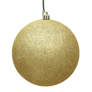 Gold Glitter Ball Ornament, Set of Twelve