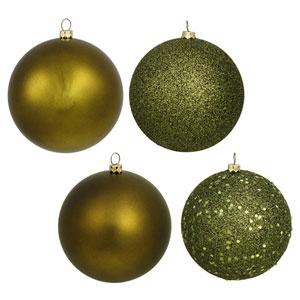 Dark Olive 4 Finish Ball Ornament 80mm 16/Box