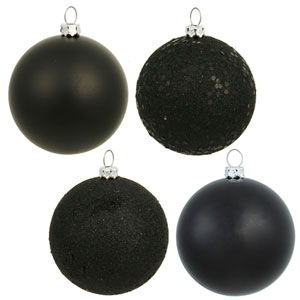Black 4 Finish Ball Ornament 80mm 16/Box