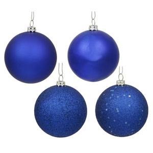 Cobalt Blue 4 Finish Ball Ornament 80mm 16/Box