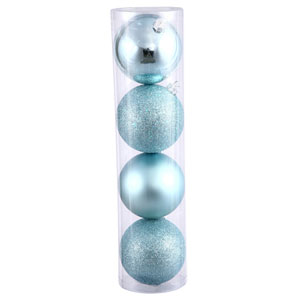 Baby Blue 4 Finish Ball Ornament 80mm 16/Box
