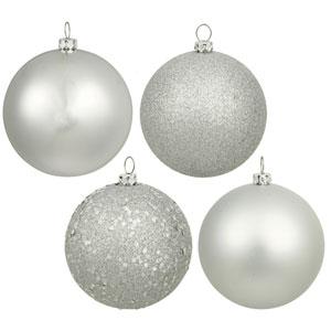 Silver 4 Finish Ball Ornament 100mm 12/Box