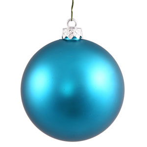 Turquoise Matte Ball Ornament, Set of Six