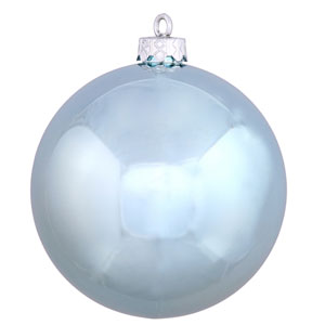 Baby Blue Shiny Ball Ornament, Set of Six