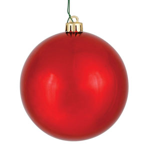 Red Shiny Ball Ornament, Set of Four