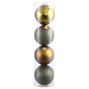 Dark Olive 4 Finish Ball Ornament 120mm 4/Box