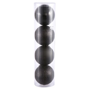 Black 4 Finish Ball Ornament 120mm 4/Box