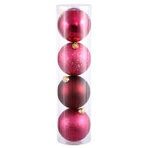 Wine 4 Finish Ball Ornament 120mm 4/Box