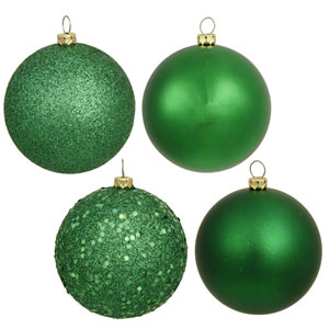 Green 6-Inch Four Finish Ball Ornament, Set of Four