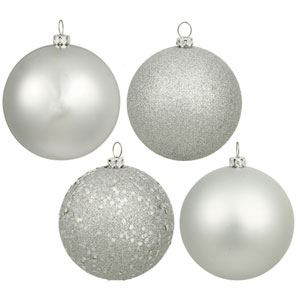 Silver 6-Inch Four Finish Ball Ornament, Set of Four