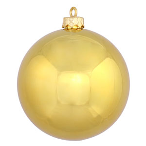 Gold 6-Inch UV Shiny Ball Ornament, Set of Four