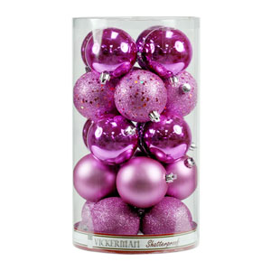 Orchid 6-Inch Four Finish Ball Ornament, Set of Four