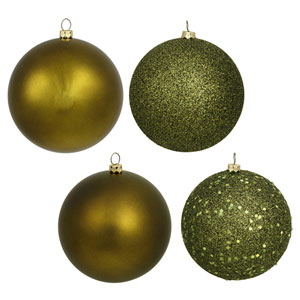 Olive 6-Inch Four Finish Ball Ornament, Set of Four