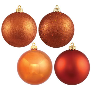 Burnish Orange 6-Inch Four Finish Ball Ornament, Set of Four