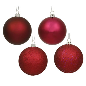 Wine 6-Inch Four Finish Ball Ornament, Set of Four