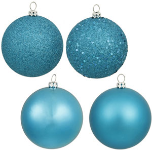 Turquoise 8-Inch Four Finish Drilled Ball Ornament, Box of Four