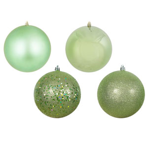 Celadon Assorted Ball Ornaments, Set of Four