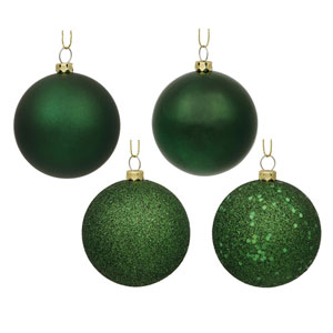 Emerald Green Assorted Ball Ornaments, Set of Sixty