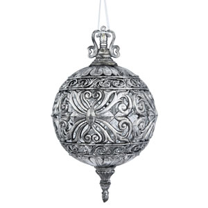 Antique Silver Sculptured Ball Ornament, Set of Two