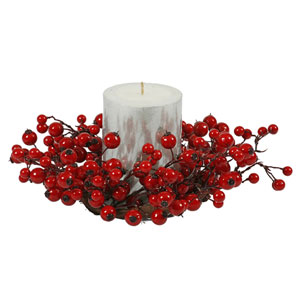 Red Mix Berry Candle Ring 10-inch