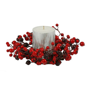 Red and Burgundy Mix Berry Candle Ring 10-inch