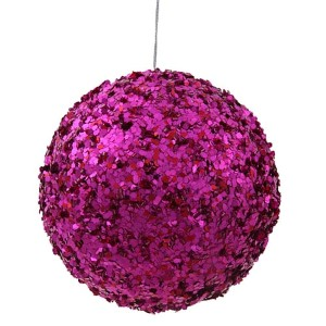 Cerise 5-Inch Sparkle Sequin Kissing Ball Ornament