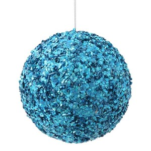 Turquoise 5-Inch Sparkle Sequin Kissing Ball Ornament