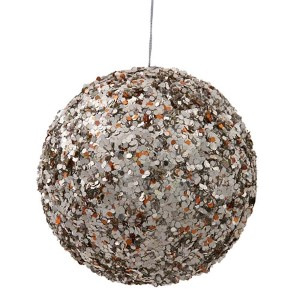Chocolate and Silver 5-Inch Sparkle Sequin Kissing Ball Ornament