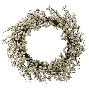 28 In. White Indoor/Outdoor Berry Wreath