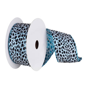 Teal and Black 30 Foot Lame Velvet Leopard Ribbon