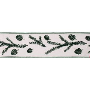 Green Spruce Pine Cone Ivory Ribbon, Ten Yards
