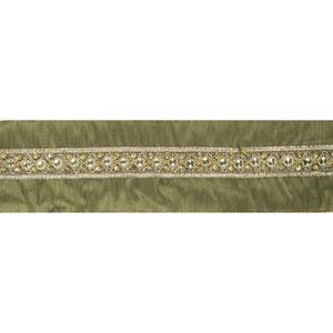Gold Sequin Trim Olive Ribbon, Ten Yards
