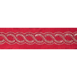 Gold Crystal Red Dupioni Ribbon, Five Yards